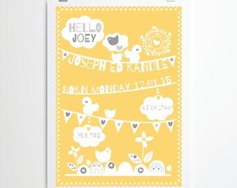 New Baby Personalised Fine Art Giclee Nursery Print