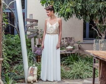 Wedding dress bohemian lace top