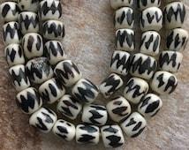 "Reserved for Mel, African Batique Bone Bead ,50 Kenyan Batique Bone Beads,50 African Bone Beads,African Beads,Full String (25"") Cow Bone"