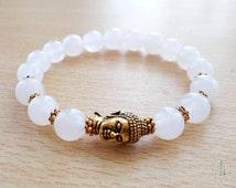 Snow Quartz Buddha Bracelet - Boho Yoga Meditation Spiritual Energy Reiki Crown Chakra -Focus Clarity Calming Purification Observation Stone