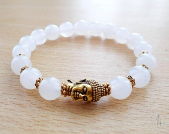 Snow Quartz Buddha Bracelet Gold or Silver- Beaded Stretch Boho Gemstone Bracelet - Yoga Meditation Spiritual Crown Chakra Stone