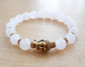 Snow Quartz Buddha Bracelet - Boho Yoga Meditation Gemstone Jewelry - Spiritual Reiki Crown Chakra Stone - White Gold/Silver Bracelet