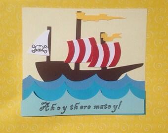 Pirate Birthday Invitation, pirate ship, ahoy matey