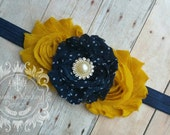 Navy and Mustard Shabby Flower Headband ~ Baby Infant Toddler Girls Childrens Headband