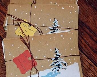 Snowy tree notecards
