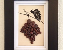 Pebble art, grapevine, wine, wall decor, home decor, unique gift, indian ink drawing, framed art, red, wall hanging