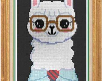 Hipster Alpaca - Cross Stitch Pattern - Downloadable PDF