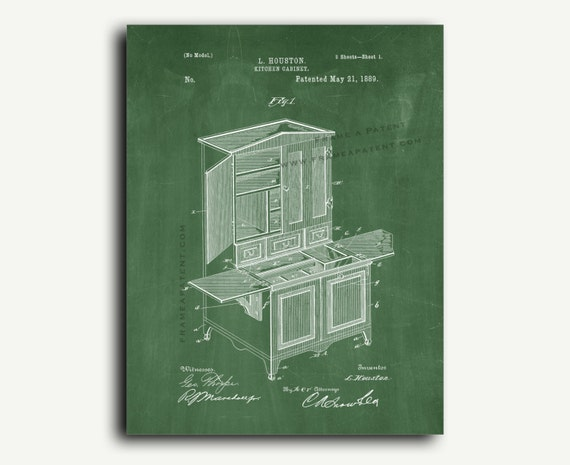 Patent print kitchen cabinet patent wall art by frameapatent for Kitchen cabinets lowes with wall print art