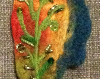 Wet Felted Flower Brooch