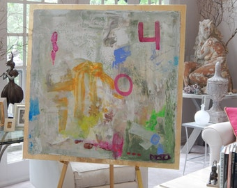 """Huge (48"""" X 48"""") Original Abstract Paintings by Pamela Qarbaghi, """"Engineer's Mind."""""""