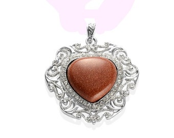 Red Goldstone Heart Pendant without Chain in Silver-tone