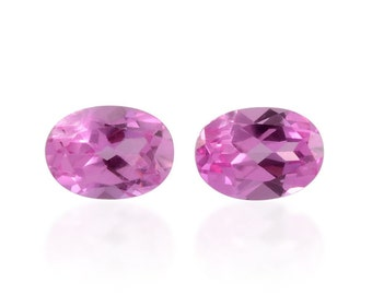 Pink Sapphire Synthetic Lab Created Loose Gemstones Set of 2 Oval Cut 1A Quality 7x5mm TGW 1.70 cts.