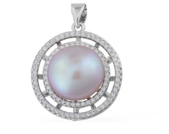 Freshwater Purple Pearl, Simulated White Diamond Pendant in Silver-tone Without Chain