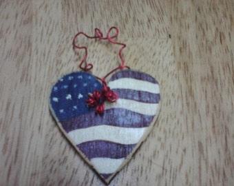 "Old Glory * ""Stars n' Stripes"" Wood-cut Heart Hanging Decoration * Ornament"