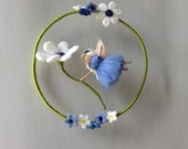 Waldorf fairy mobile with daisy needle felted
