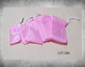 BULK SALE Crystal Satin -  6 Tiny Bright Pink shimmery drawstring bags. Perfect for herbs, jewelry, dice, crystals, and stones! LOT-284