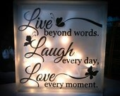 Lighted Glass Block - Live • Laugh • Love