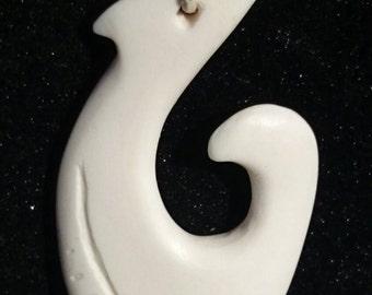 Hei Matau Bone Pendant-bone pendant-Maori hook-bone hook-Maori fish hook-bone jewelry