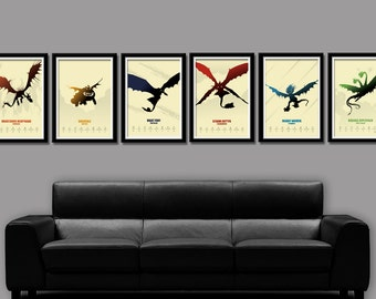 How To Train Your Dragon Minimalist Movie Poster Set - Delux Version - 6 Prints - Home Decor