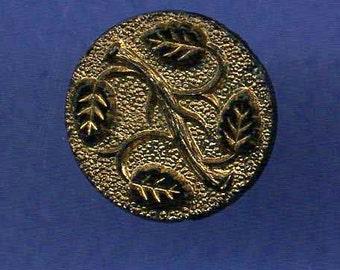 Antique Button, Black Glass Leaves, Gold Luster