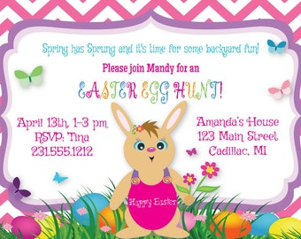 Easter Egg Hunt Invitation, Kids Easter Party Invitation