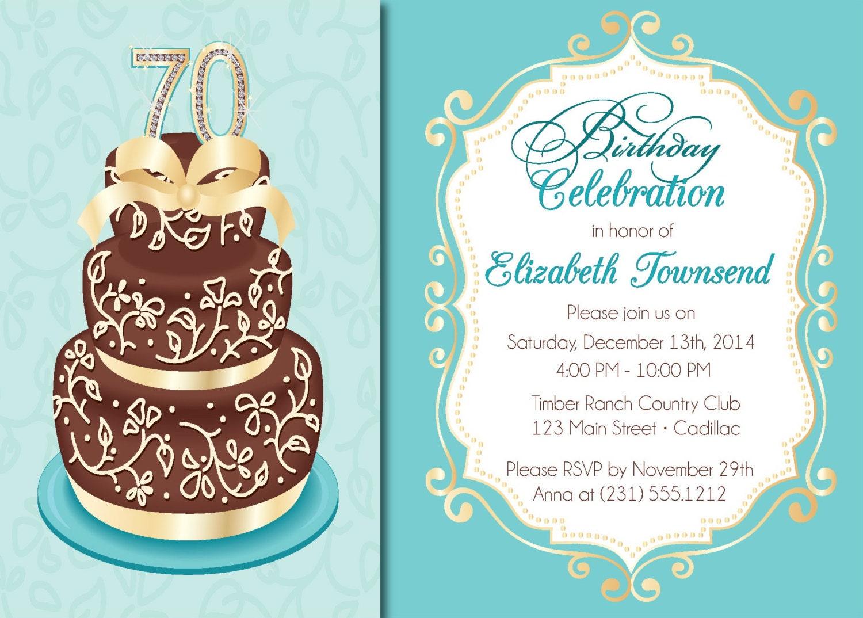 Elegant Birthday Cake Adult Birthday Party Invitations