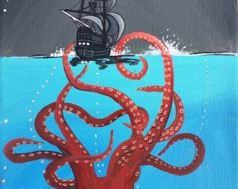Kraken and ship seascape artwork postcard