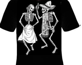 dancing skeletons skulls tee shirt t-shirt cool pinup day of the dead