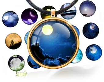 "Night moonlit sky bottle cap images -1'' circles 25mm, 30mm, 1.25"", 1.5"" rounds Digital Collage, Instant Download, BUY 2 GET 1 FREE"