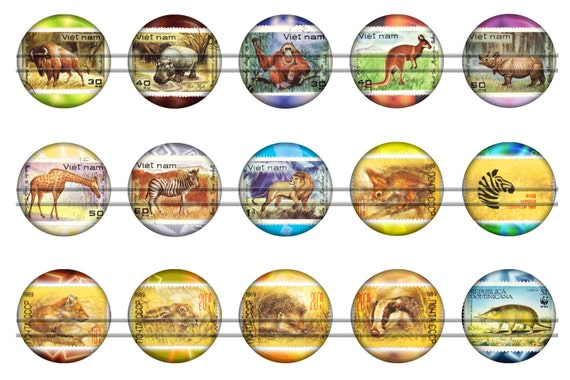 Vintage stamps with animals digital bottle caps images Depot outlet bochum