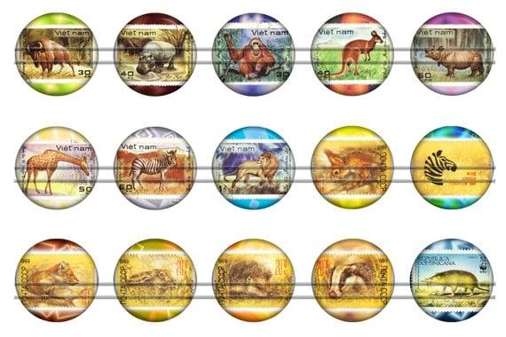 Vintage stamps with animals digital bottle caps images for Depot outlet bochum