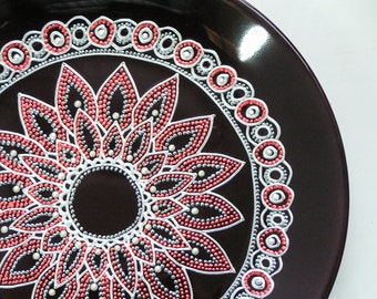 Painted ceramic plate - lilac decor display plate, decorative lotus mandala plate, - customizable gift