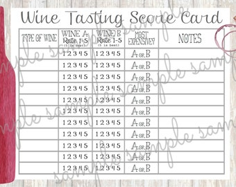 PRINTABLE Wine Tasting Card - INSTANT DOWNLOAD