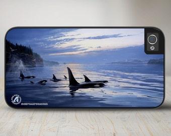 "Orca Whales iPhone 5 Case, Orcas iPhone 5s Case, Orca Whales iPhone Case Protective Orcas Phone Case ""Armada"" 50-8253"