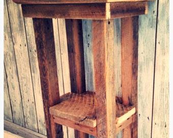 Rustic barn wood side table