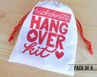 Bachelorette Party Favors - Hangover Kit Bags - Bachelorette Hangover Kit Bags - Pack of 6