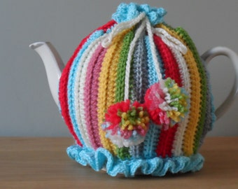 Pattern for a crochet stripey stash tea cosy (delivered by email in PDF format)