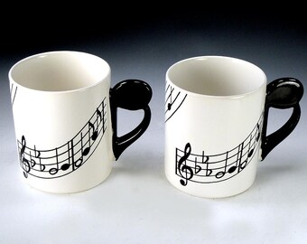 SHAFFORD MUSIC MUGS 2 note handled black and white two cups Shafford Original 1979 Japan Vintage