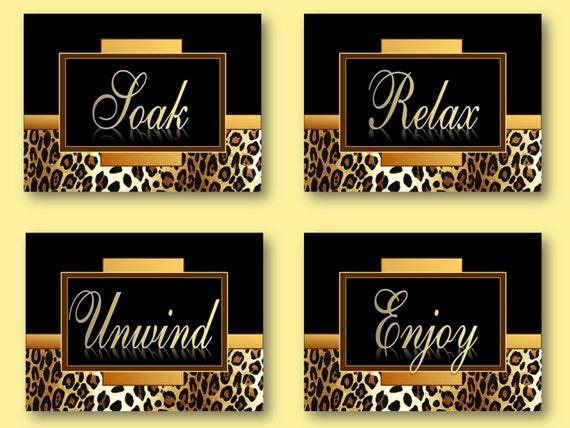 Zebra Print Bathroom Wall Decor : Items similar to leopard cheetah print bathroom wall art