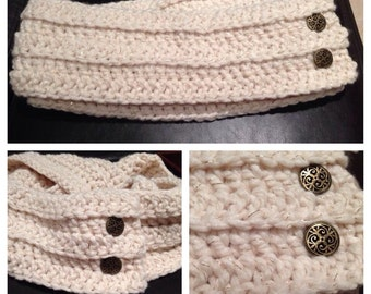 Crocheted Button-on Infinity Scarf