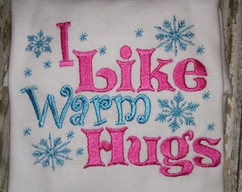 Frozen Olaf I Like Warm Hugs Snowman Snow Man Child Children Boy or Girl T-Shirt Boutique! Embroidered Shirt