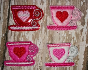 Set of 4 Heart Teacup Valentines Valentine Day Feltie Felt Embellishment Bow! Birthday Party Tea Party Alice in Wonderland