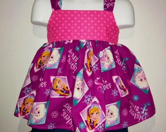 Girls Toddlers Frozen Anna and Elsa Boutique Birthday Party Short and Tank Top Shirt Set Princess Park Outfit! Sizes 2 ,3, 4, 5, 6, 7, 8