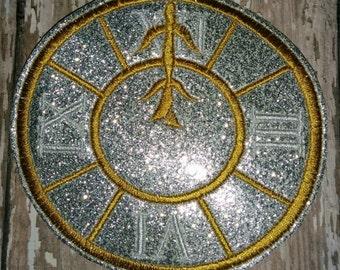 Set of 1 Clock Feltie Felties Cinderella Cindy Princess Midnight Clock Oversized Oversize Large Glitter Feltie Felt Embellishment Bow!