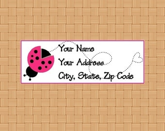 Address Labels Personalized Labels Return Labels Pink Ladybug Dancing Labels Spring Labels Insect Labels
