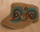 Stone / Tan Cadet Hat with Fabulous Iridescent Glass Center Accent, Hand Painted Lace, and Antique Style Gold Filigree