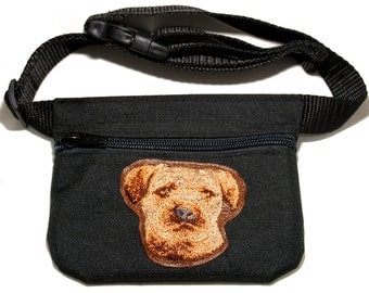 Border Terrier embroidered dog treat bag / dog treat pouch. For dog shows, dog walking and training. Great gift for dog lovers.