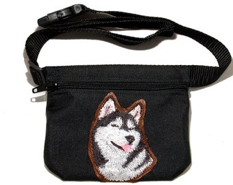Siberian Husky embroidered dog treat bag / dog treat pouch.  For dog shows, dog walking and training. Great gift for husky lovers.