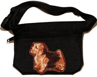 Embroided dog treat waist bag. Breed - Norfolk Terrier. For dog shows and training. Great gift for breed lovers.