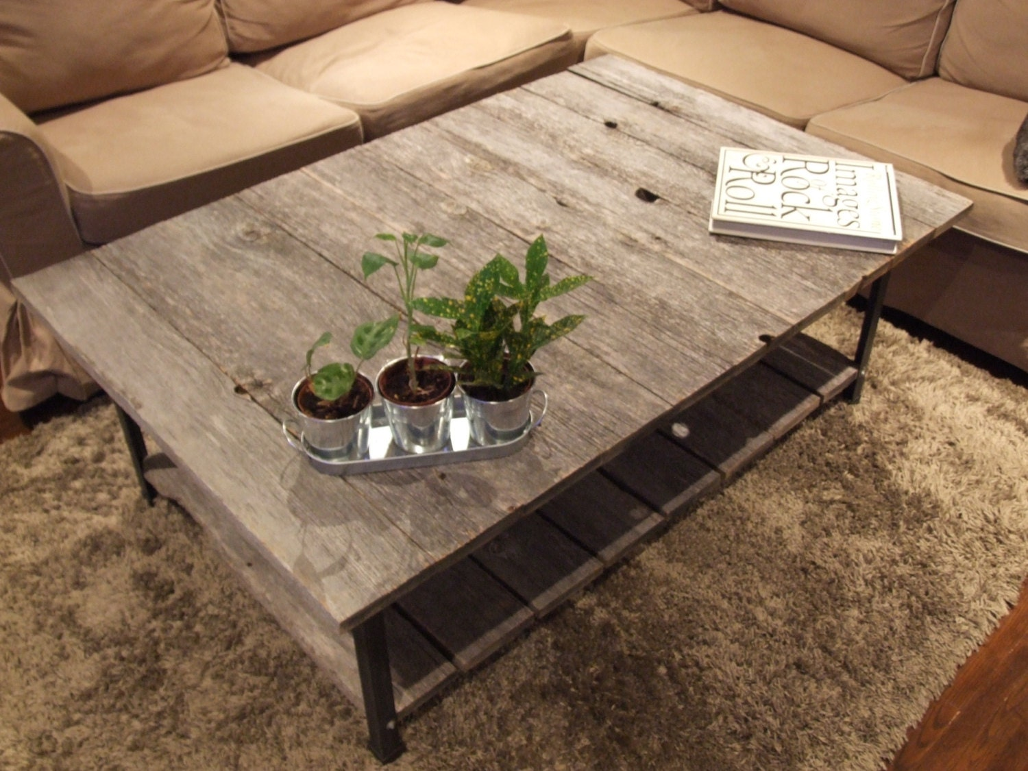 barn wood rail road track coffee table with shelf. Black Bedroom Furniture Sets. Home Design Ideas